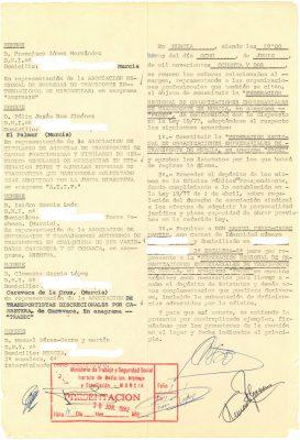 Acta de constitución de FROET 8 de junio de 1982